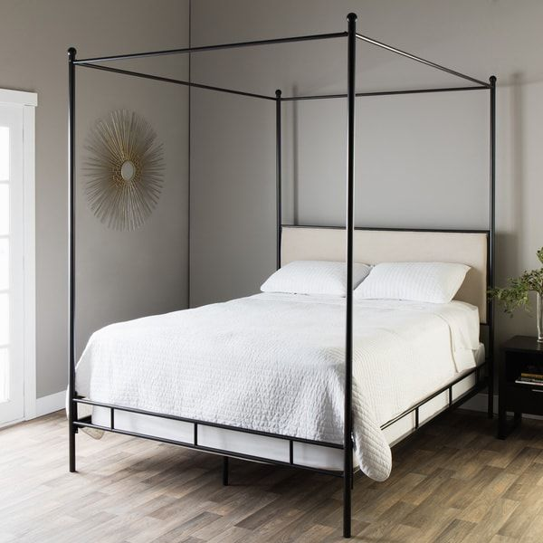 Budget friendly black canopy bed (metal canopy bed with upholstered ...