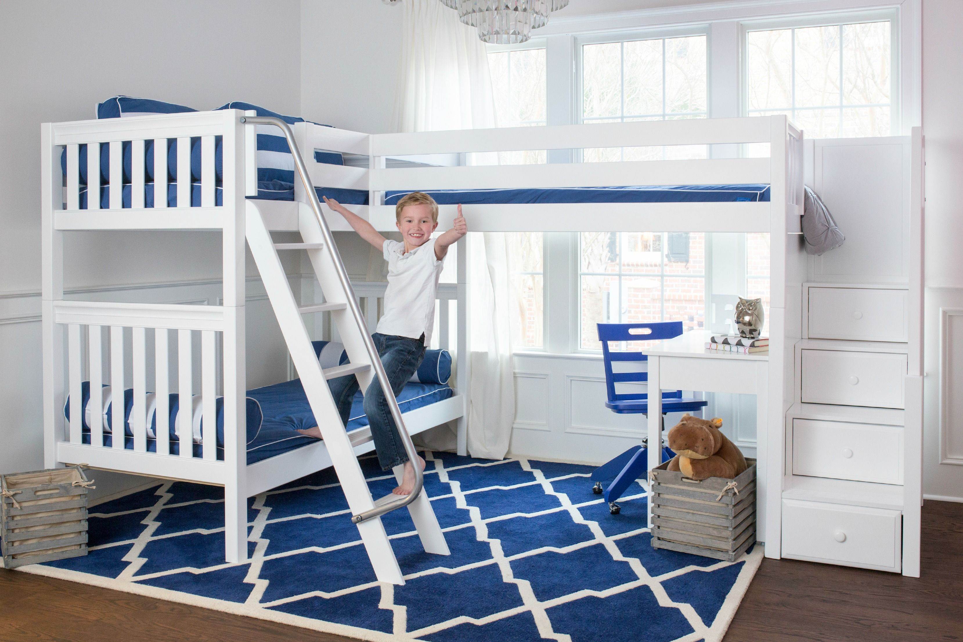 maxtrix corner bunk bed with stair loft addition  Kids Only
