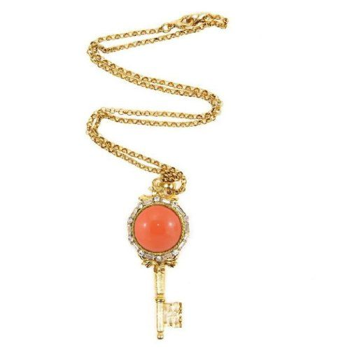 Kenneth Jay Lane Antique Gold And Coral Key Pendant Necklace Coral ry6tODLC9t