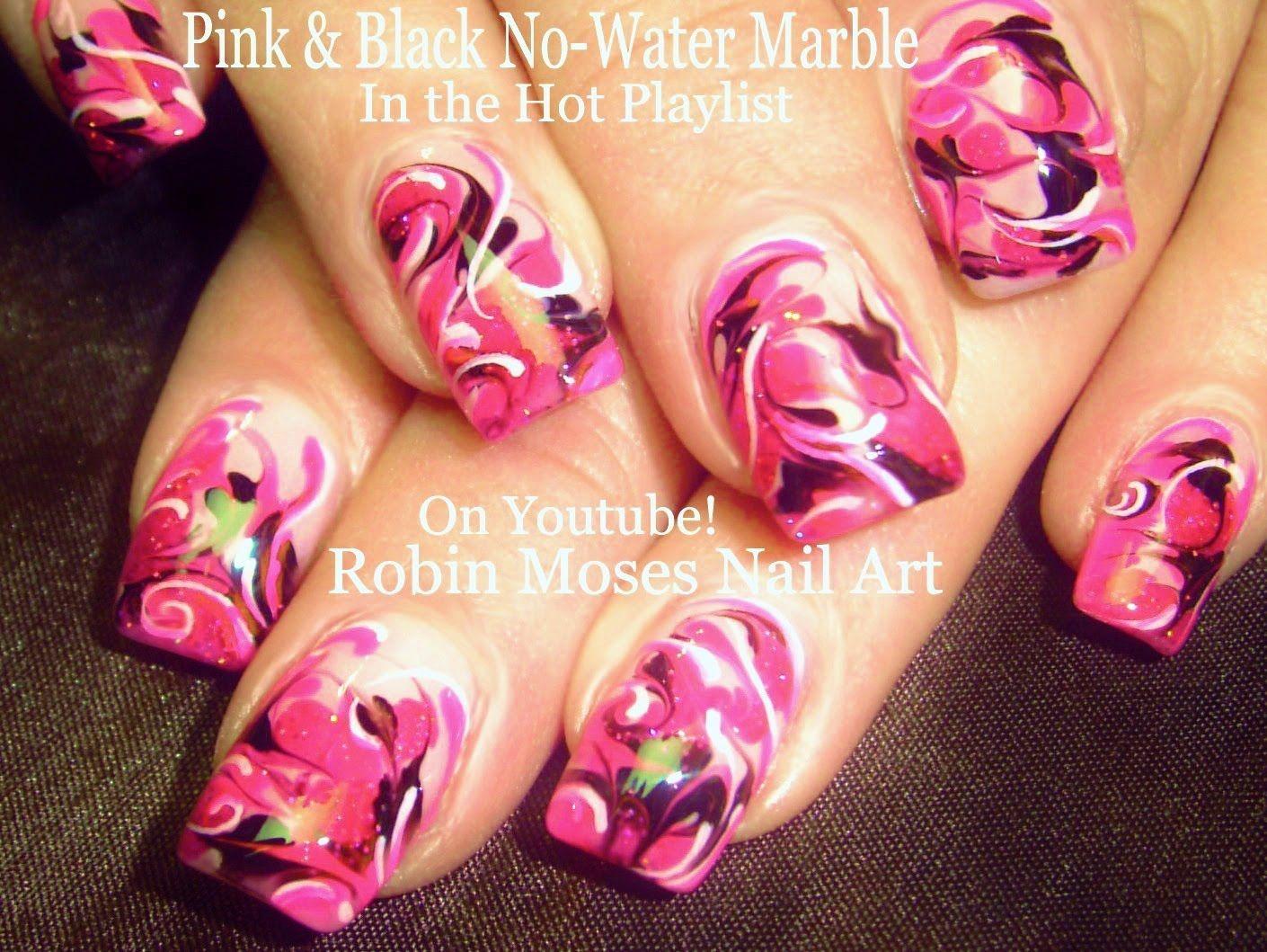 Nail Art Tutorial | DIY Marble Nails | Hot Pink Nail with No Water ...