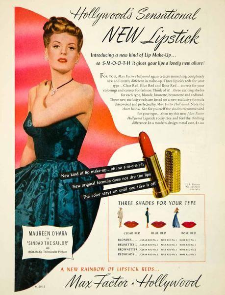1946 Ad Vintage Red Lipstick Max Factor Hollywood Maureen O'Hara Movie YRM1…
