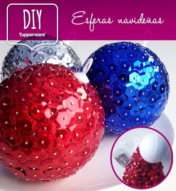 Materiales bolas de unicel lentejuelas de colores - Esferas de navidad ...