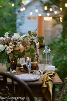 Gathered Goodness autumn table | French Country Cottage | Beautiful fall tablescape with fresh florals romantic candles and vintage tableware in an outdoor garden. #frenchcountry #outdoorliving #fallhome  Gathered Goodness autumn table | French Country Cottage | Beautiful fall tablescape with fresh florals romantic candles and vintage tableware in an outdoor garden. #frenchcountry #outdoorliving #fallhome #tischdekoherbstesstisch