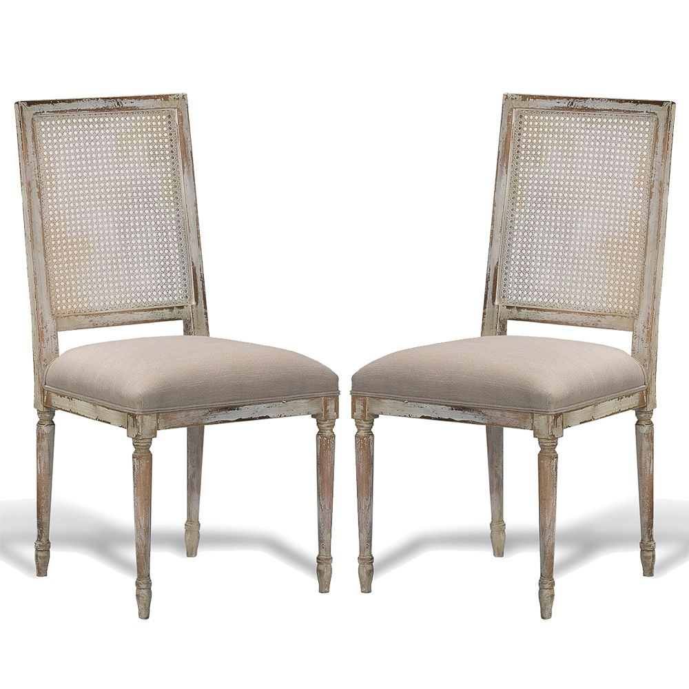 French Louis Cane Square Back Chairs - French Country   Distressed ...