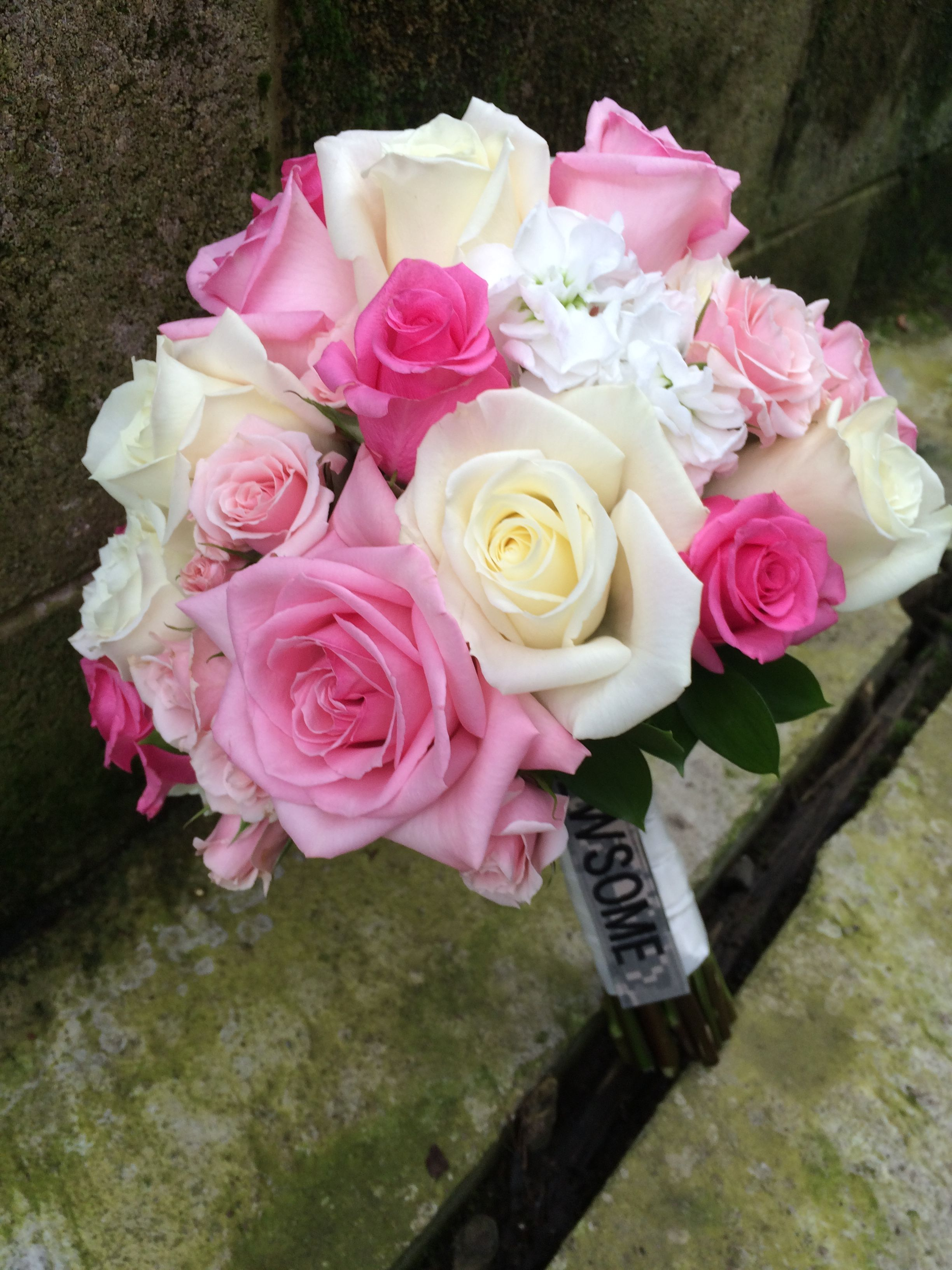 Roses. Simply roses in this pink and white bridal bouquet #furstflorist #furstevents #datytonweddings