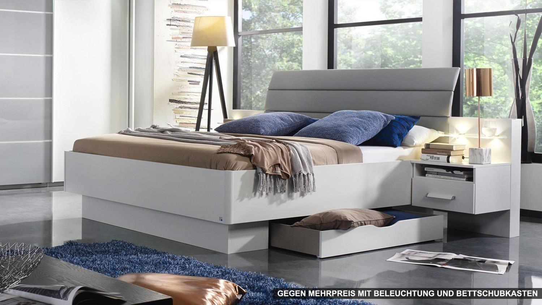 Megasofa chalet  Bettanlage ETTLINGEN Bett für Schlafzimmer weiß und hell grau ...