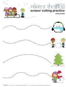 Winter Scissor Cutting Practice Sheets (printables) | Preschool ...