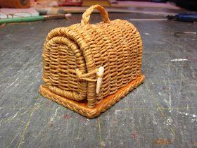 tutorial: miniature wicker pet carrier #dollhouseminiaturetutorials