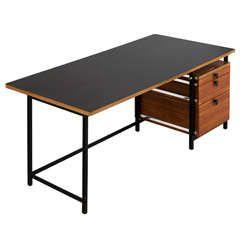 Early Black Steel and Dark Teak Jules Wabbes Desk for Mobilier Universel
