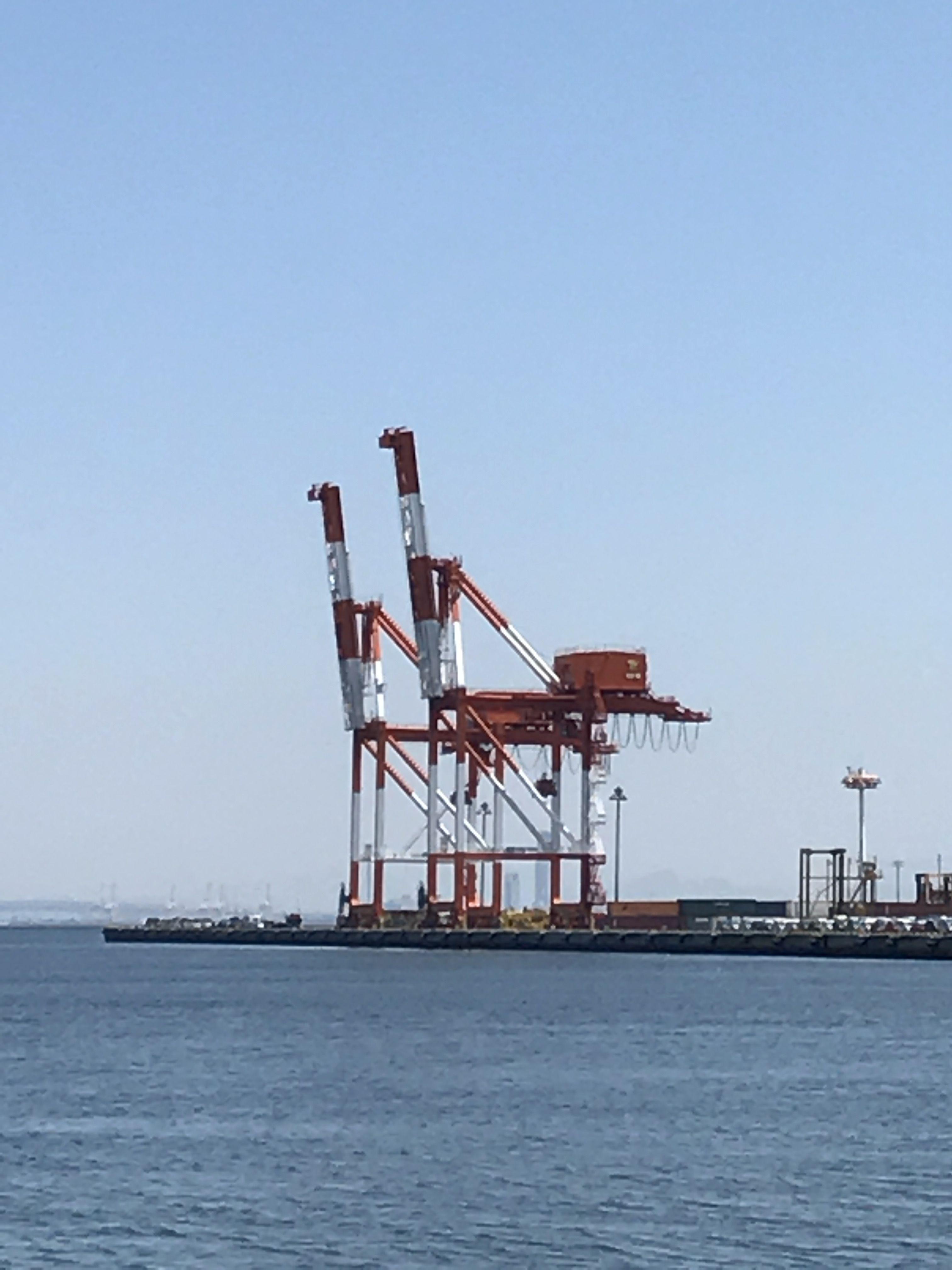 神戸 六甲アイランドのガントリークレーン Gantry crane of Kobe Rokko Island,Japan It looks like a pair of giraffes.