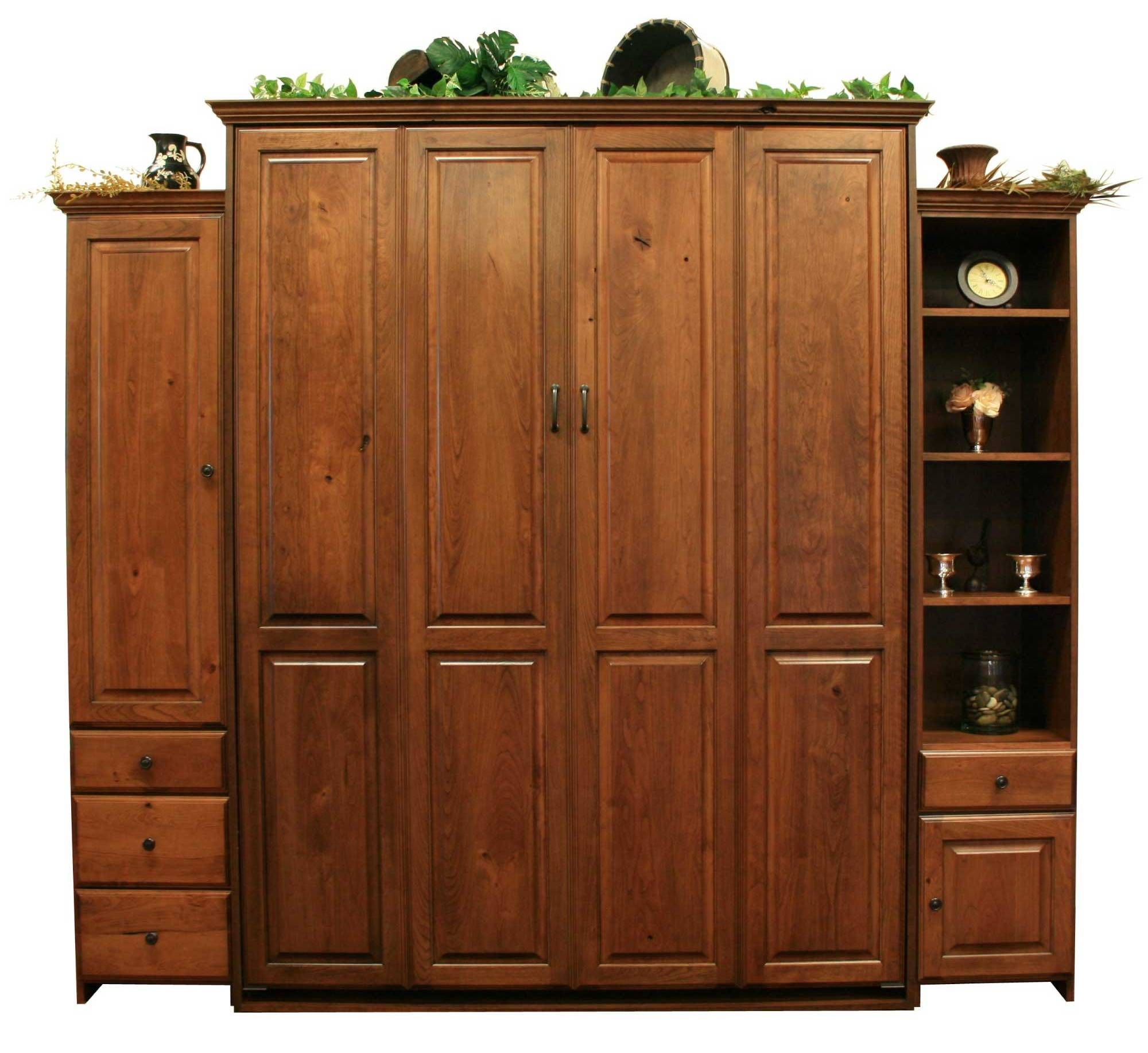 Queen size Rustic Cherry Sierra Murphy Bed with Autumn