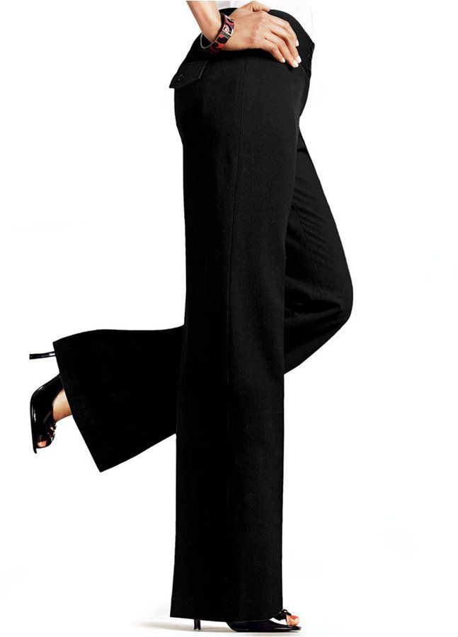 af6498f73fc33 And whose bum doesn t look good with flap back pockets  WANT! Did I mention  they come in other colors   ) Plus Size Wide-Leg Pants
