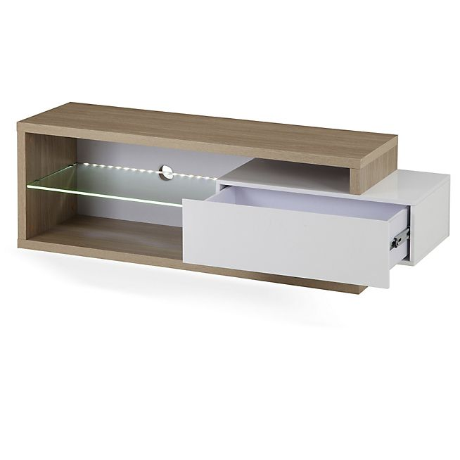 Dali meuble tv 1 tablette et 1 tiroir coloris blanc et for Meuble tv tablette