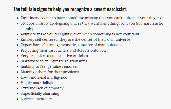signs of narcissist