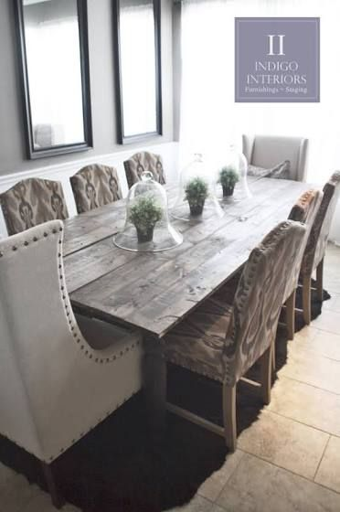 8 Person Dining Table Rustic Farmhouse Style Dining Room