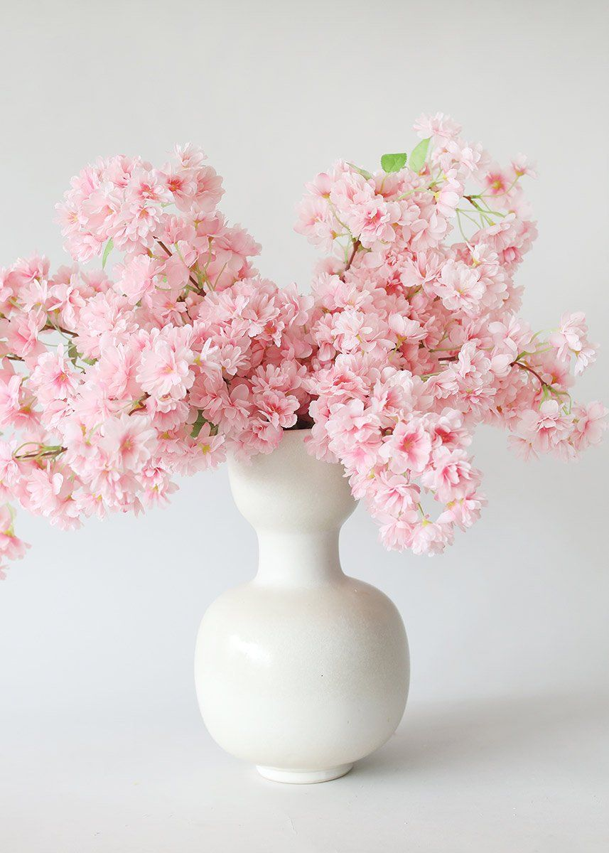 Pink Faux Cherry Blossom Flower Branch 40 In 2021 Artificial Flower Wedding Bouquets Flower Arrangements Diy Cherry Blossom Flowers
