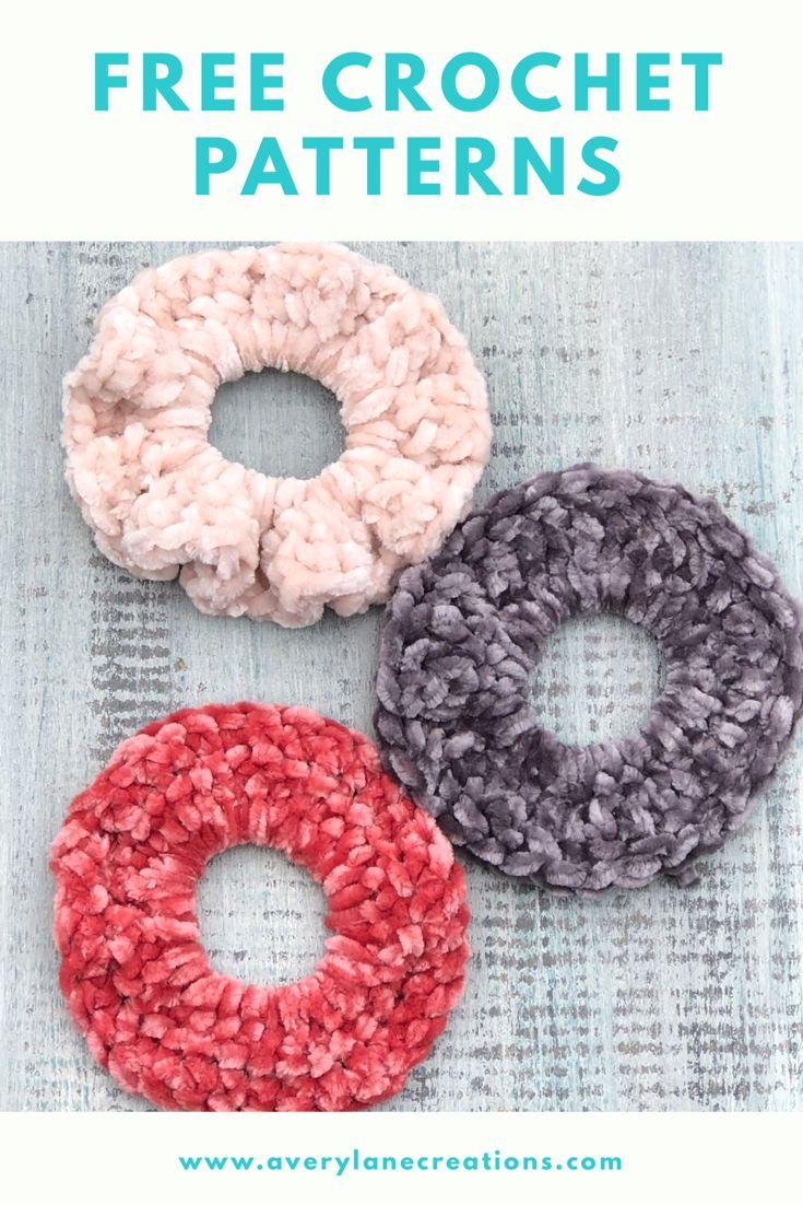 Free Crochet Patterns Velvet Hair Scrunchies #hairscrunchie