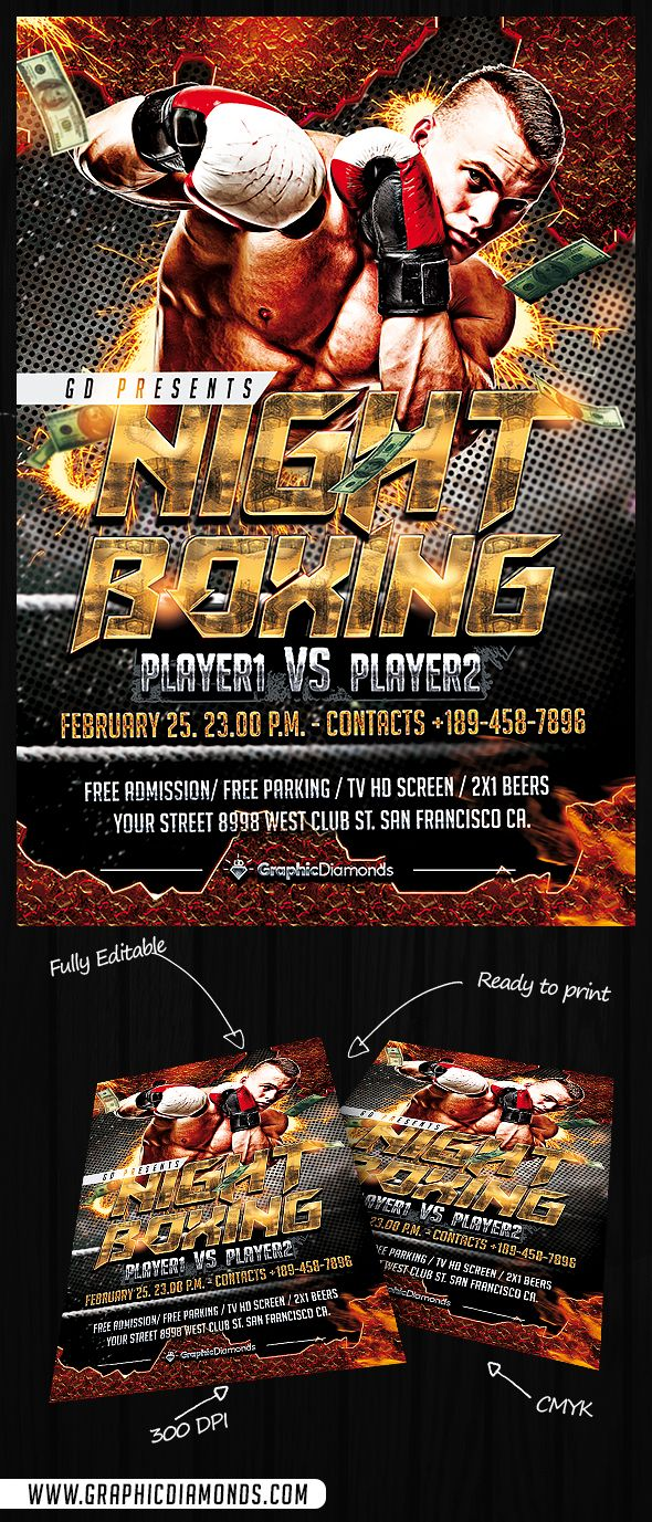 Night Boxing Flyer Template By Graphicdiamonds On Creative Market