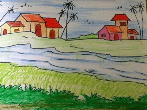 Beautiful Landscape Drawing For Kids In Simple Steps Youtube For