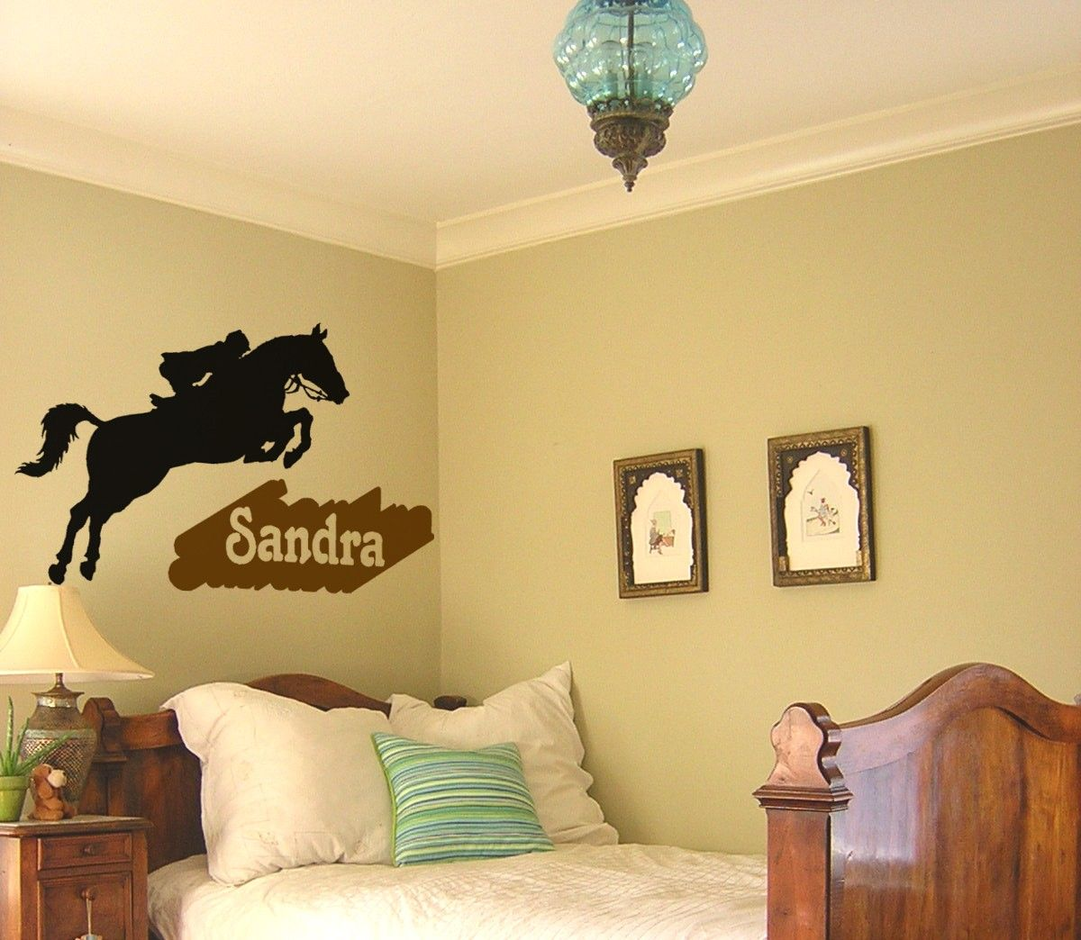 Horse decal, girls name wall sticker, teen bedroom horse decal ...