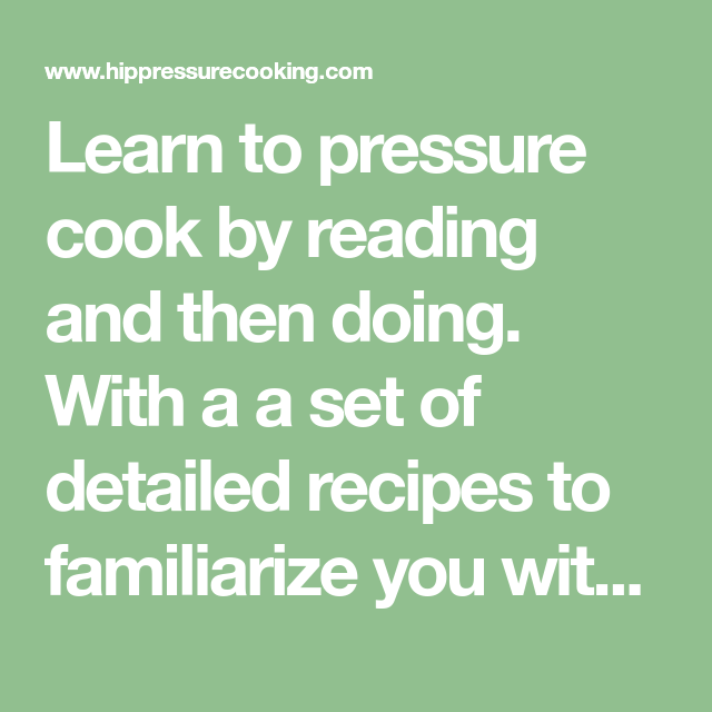 Photo of learn to pressure cook