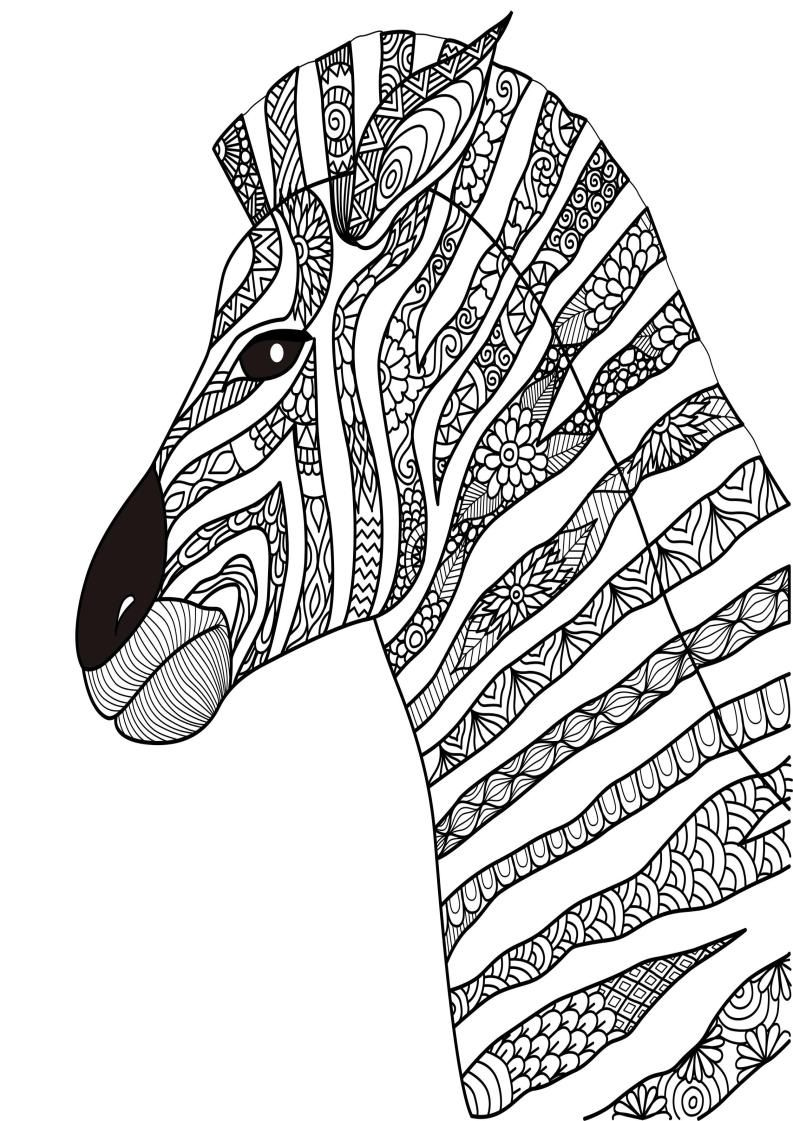 Mindfulness Coloring Zebra How To Draw Hands Animal Coloring Pages Zentangle