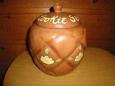 """Vintage Twin Winton ? Rare Cookie Jar """"Cookie Gem"""" Yellow Painted Flowers"""