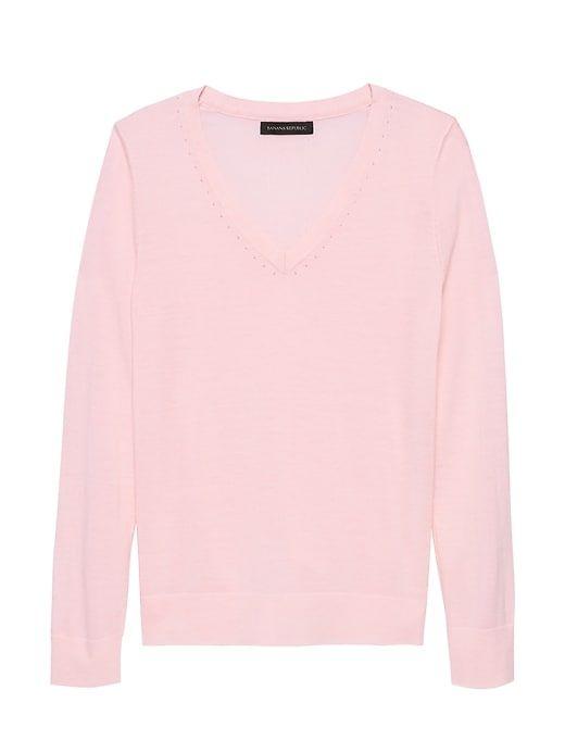 1147681494c Banana Republic Womens Machine-Washable Merino Wool Solid V-Neck Sweater  Pink Blush