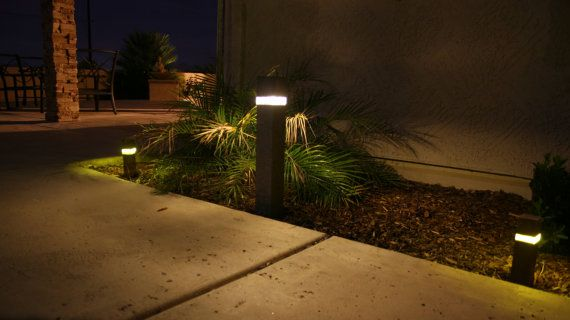 Outdoor Concrete Light Bollard 12v Led Etsy Landscape Lighting Concrete Light Outdoor Landscape Lighting