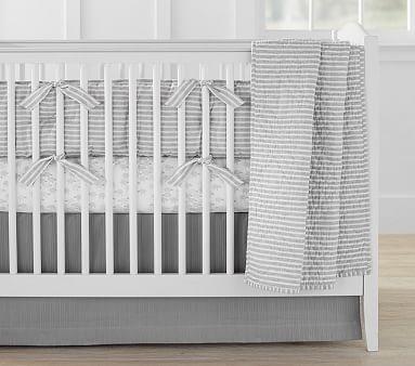 Montauk Belgian Flax Linen Toddler Quilt Gray