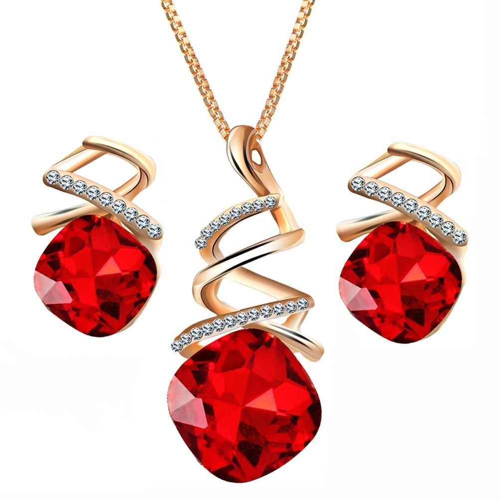 Women pendant necklace earrings set austrian water drop products