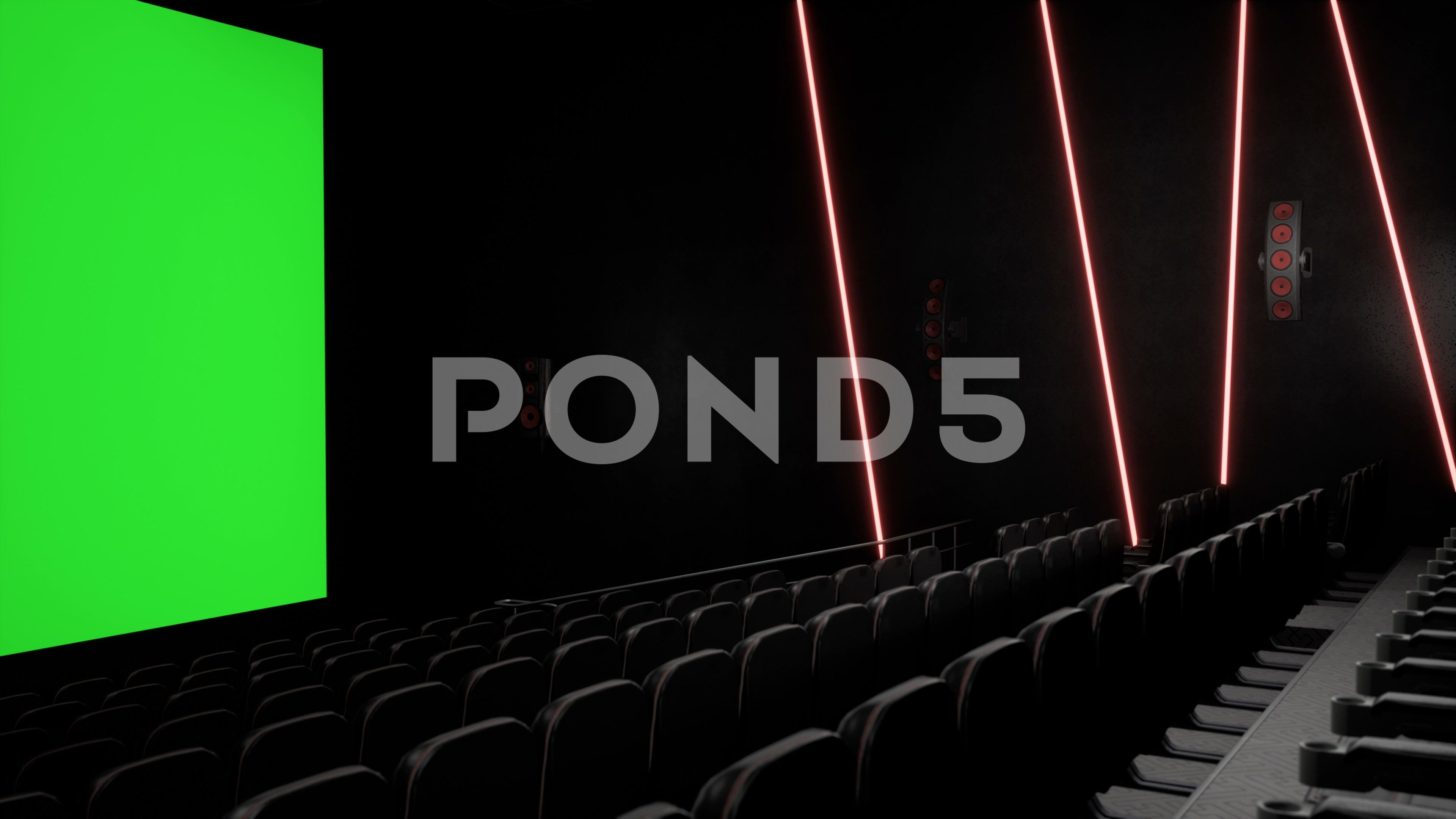 Cinema Interior Of Movie Theatre With Blank Movie Theater Screen With Green Stock Footage Ad Theatre Blank Movie Cinem Movie Theater Cinema Movies