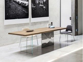 Rectangular steel and wood living room table CUBRIC | Table ...