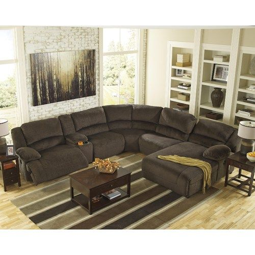 Power Reclining Sectional With Right Press Back Chaise By