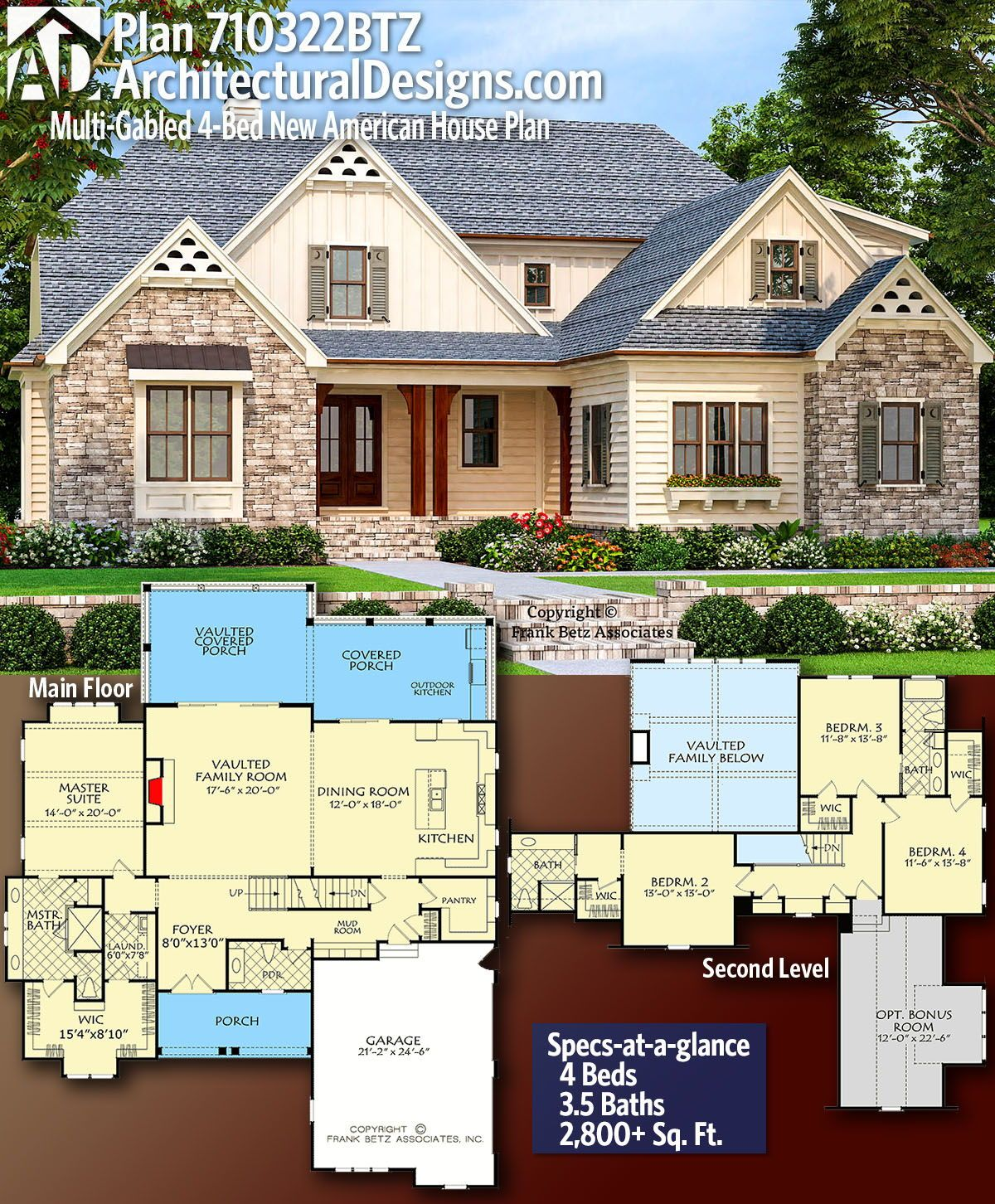 Plan 710322btz Multi Gabled 4 Bed New American House Plan Craftsman House Plans House Plans New House Plans