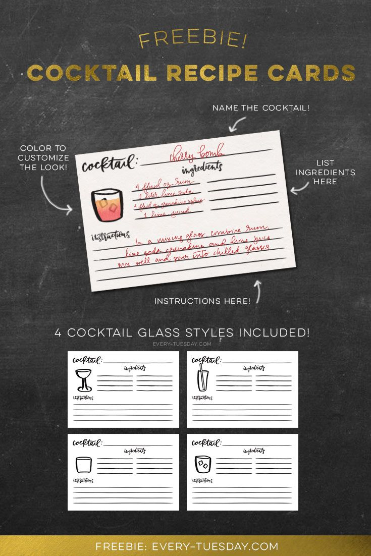 Freebie: Cocktail Recipe Cards | Pinterest | Recipe cards, Cocktail ...