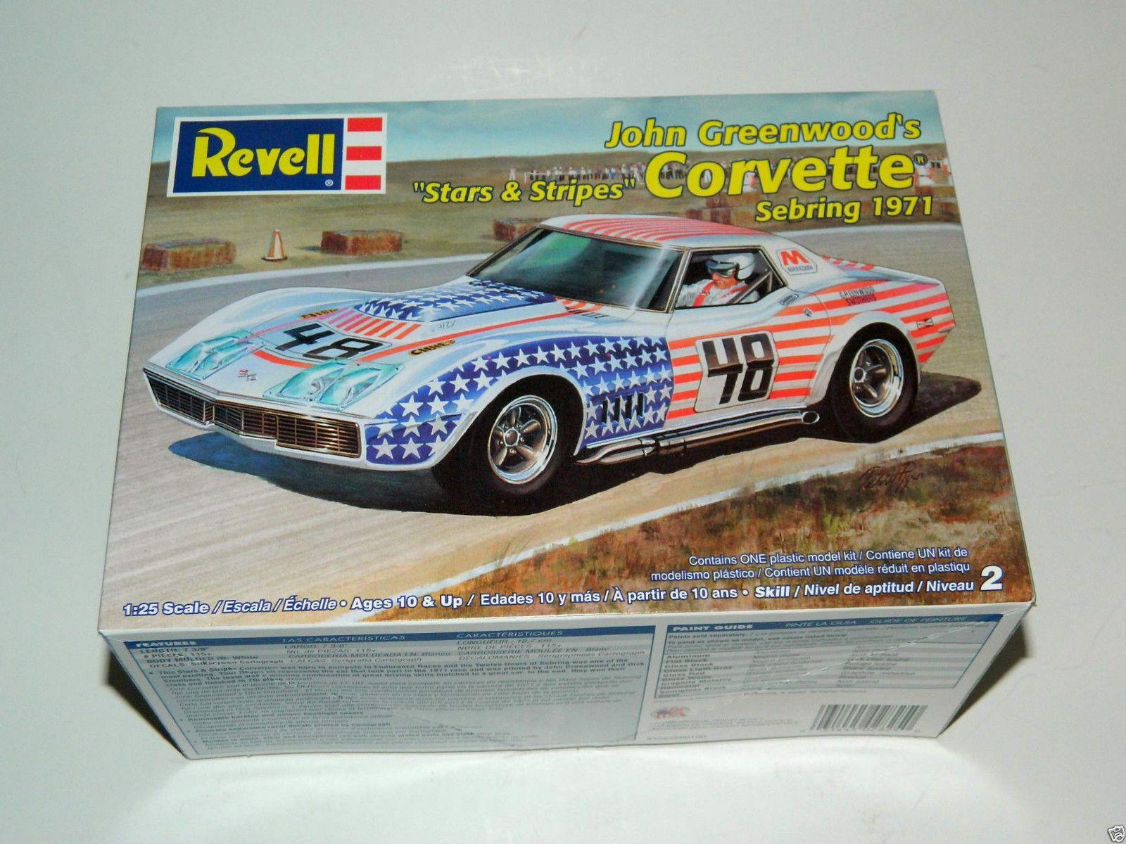 Revell John Greenwood Stars Stripes Corvette Sebring 1971 Model Kit