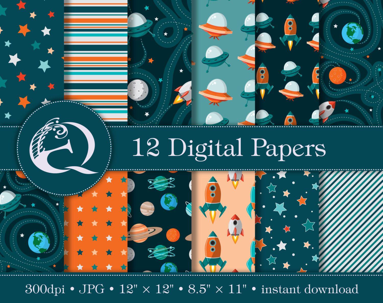 Outer Space Digital Paper Rocket Ship Scrapbook Paper