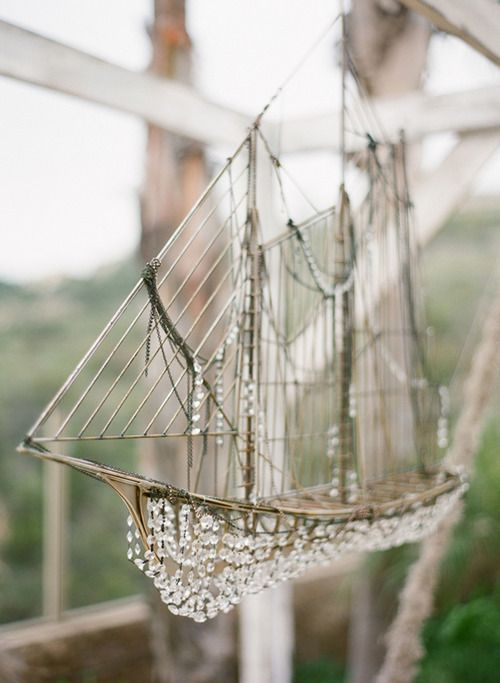 Crystal beaded ship. I'm not much for nautical decor, but I could totally get behind this one.