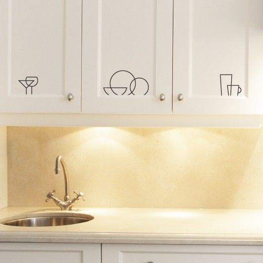 Kitchen Icon Labels Vinyl Wall Art Decals Graphic Stickers