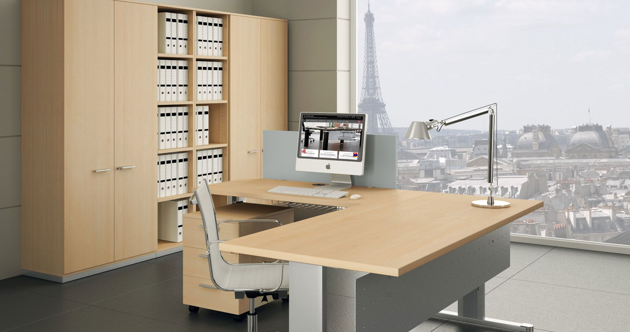 Kea Schreibtisch in Dekor Ahorn mit Kea Schreibtischbeinen in ...