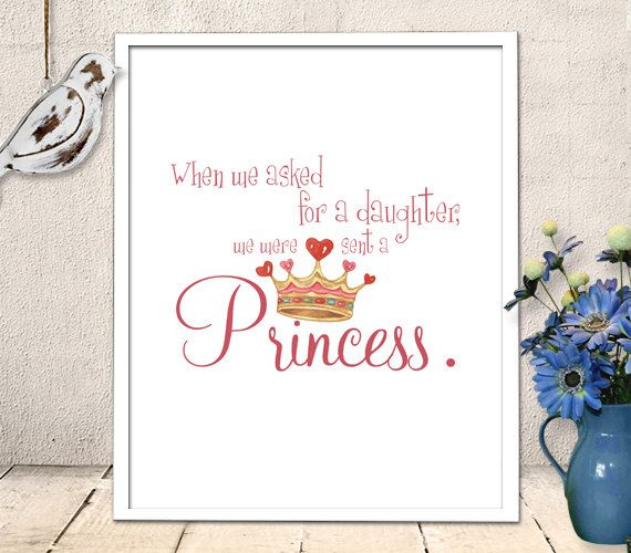Nursery Art Printable Baby Girl Princess Quote Wall Art Quote