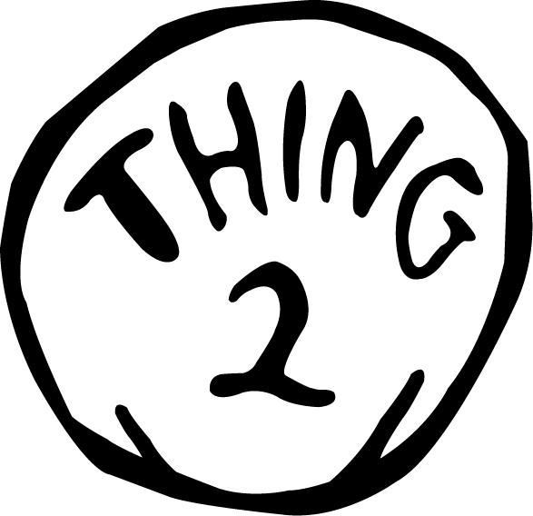 It is an image of Thing 2 Logo Printable with white
