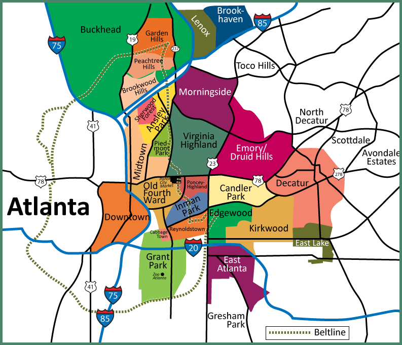 Map of Atlanta Neighborhoods Intown Atlanta Map showing