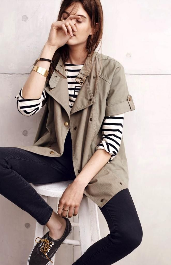 weekend casual in stripes, jeans and sneakers #style #fashion