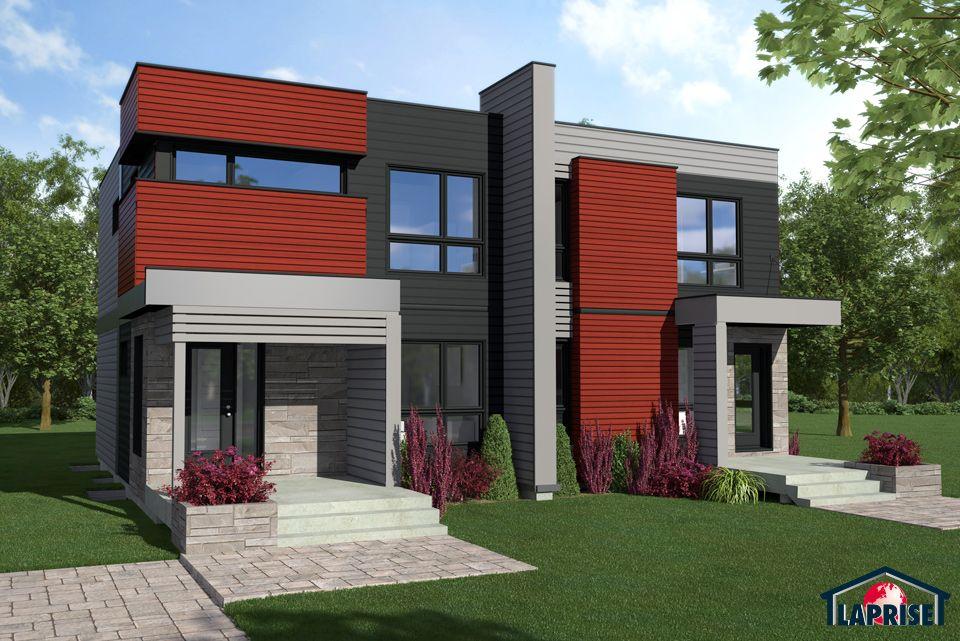 Designer, Zen \ Contemporary, Semi-detached Homes LAP0526 Maison