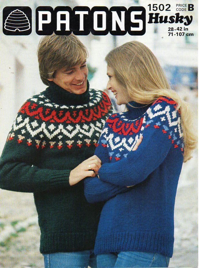 Vintage womens / mens chunky fair isle sweater unisex knitting ...