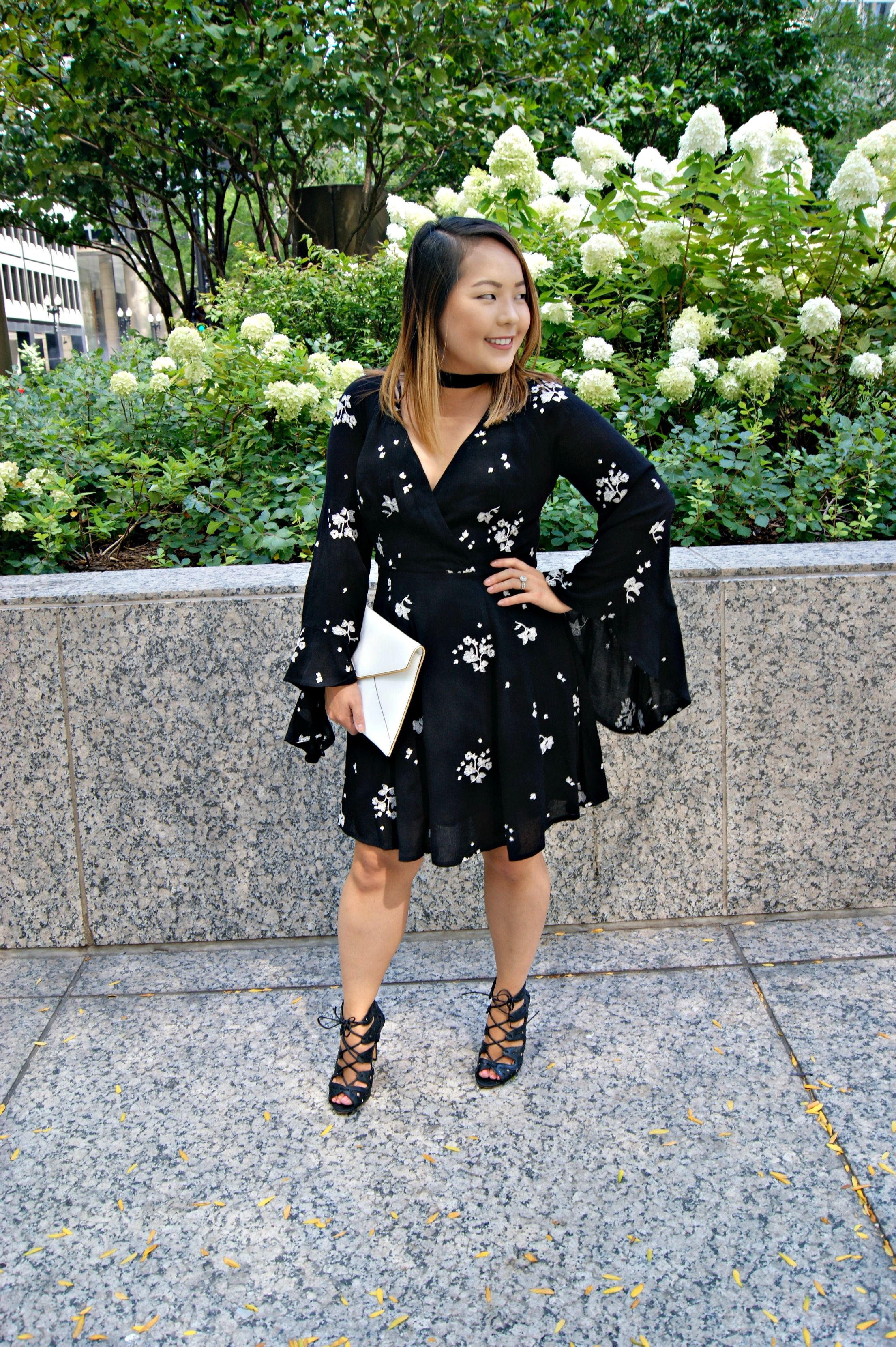 Flowy Florals Free People Black Dress With White Flowers And Bell