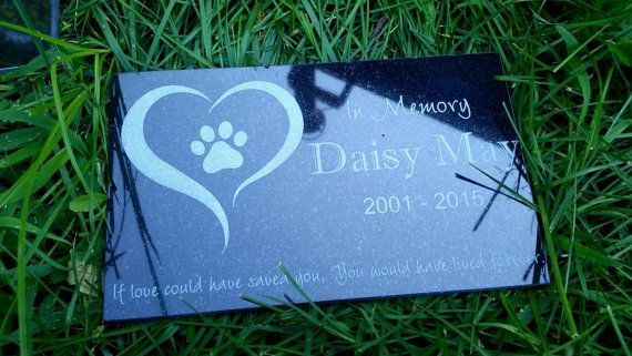 Pet Memorial Stone Black Granite Grave Marker Dog Cat Horse