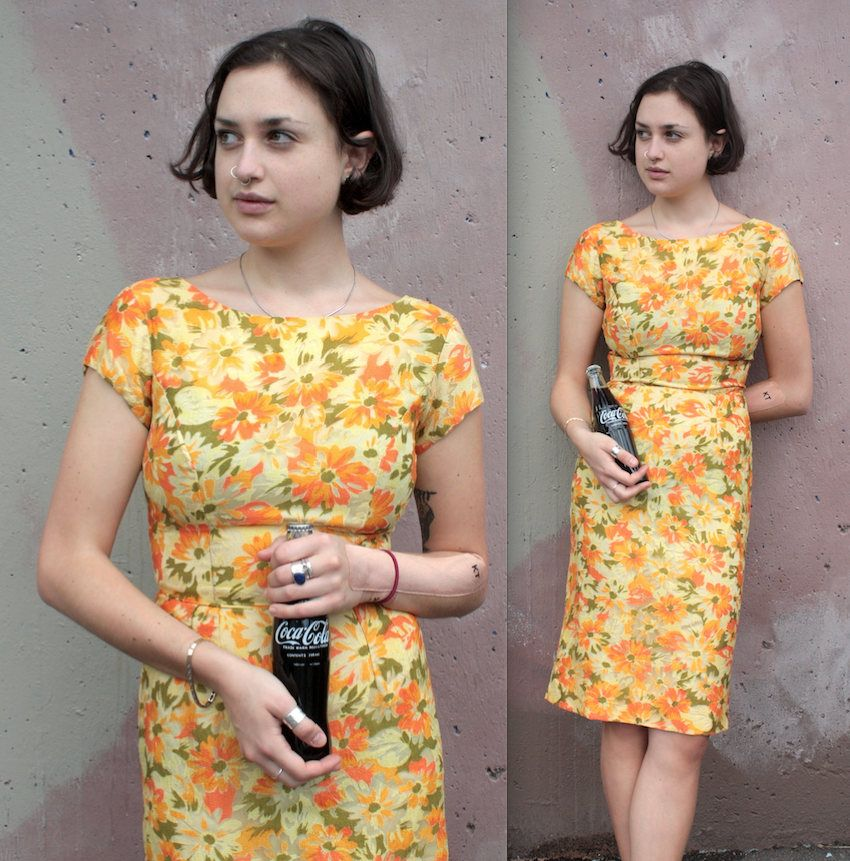 Vintage 1960's Dress // 60s Orange, Yellow And Green Daisy